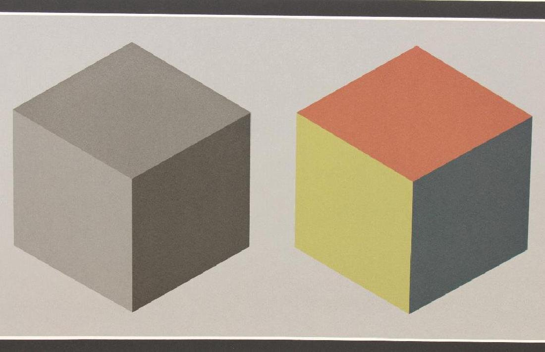 "Sol Lewitt (1928-2007, American) ""Double Cubes in Grays - 2"