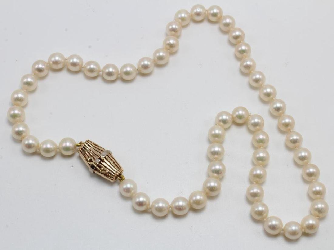 NECKLACE. PEARL. 14K YELLOW GOLD