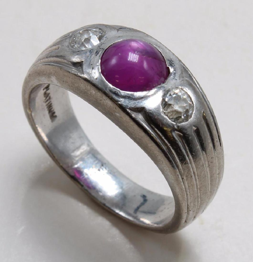 RING. RUBY AND DIAMOND. PLATINUM