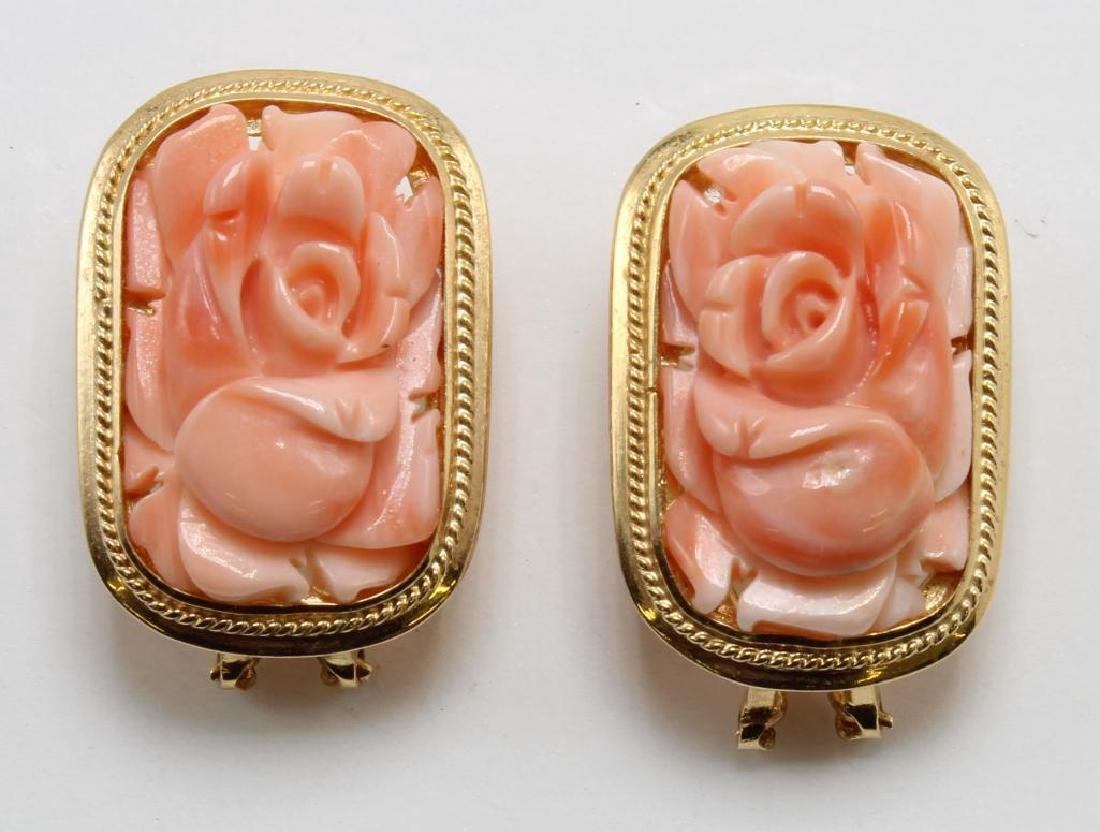 EARRINGS. CARVED CORAL. 14K YELLOW GOLD