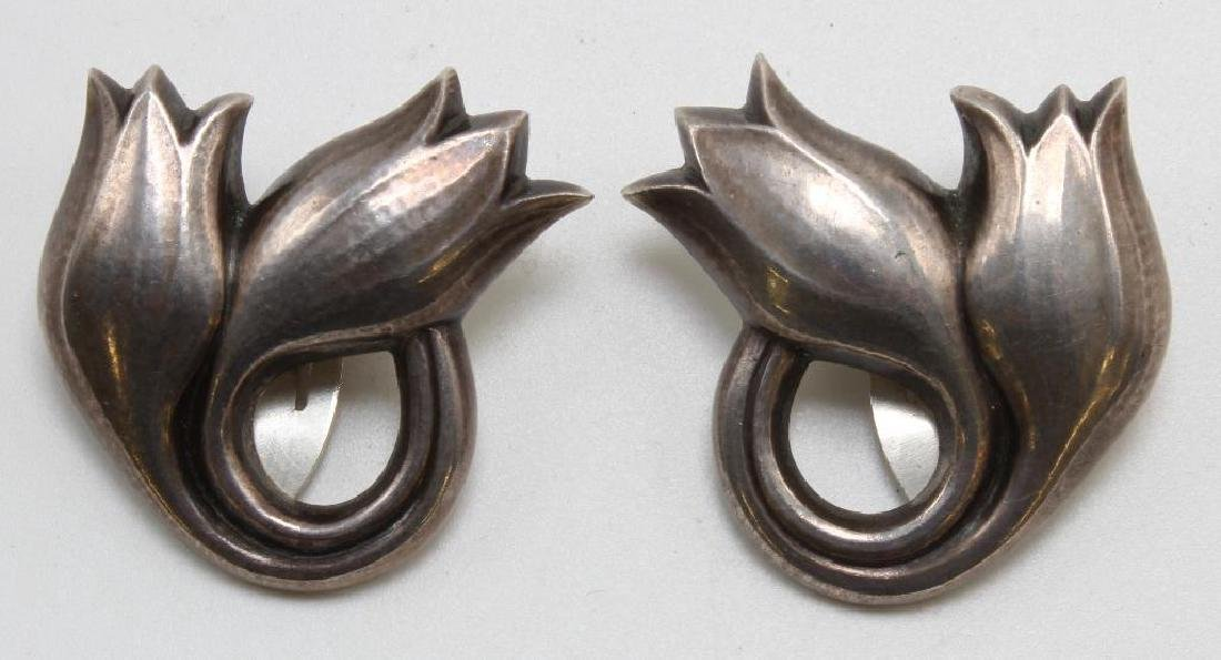 GEORG JENSEN EARRINGS. STERLING SILVER. DENMARK. TULIPS