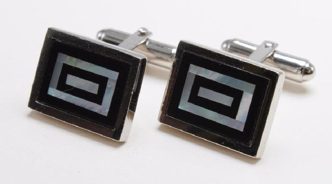 WEH CUFFLINKS. ONYX AND MOTHER OF PEARL. STERLING