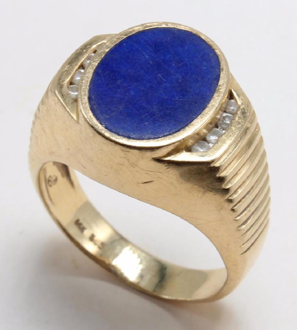 RING. LAPIS AND DIAMOND. 14K YELLOW GOLD