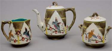 "Wedgwood Majolica ""Bird and Fan"" Teapot, Creamer and"
