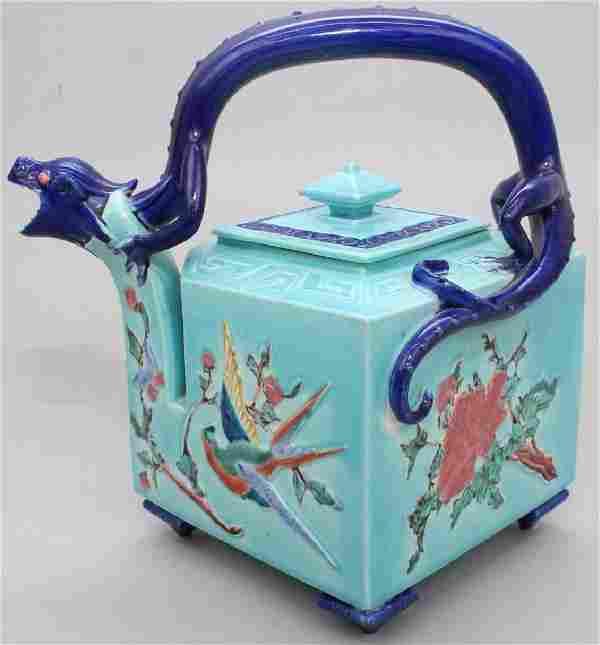 Royal Worcester Majolica Dragon Teapot - 1872