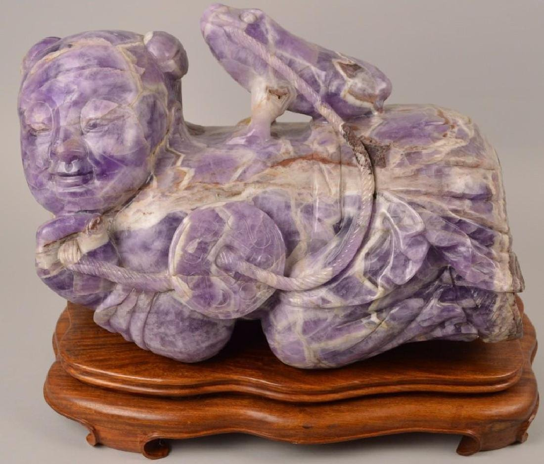 """Chinese Carved Amethyst Sculpture 30"""""""