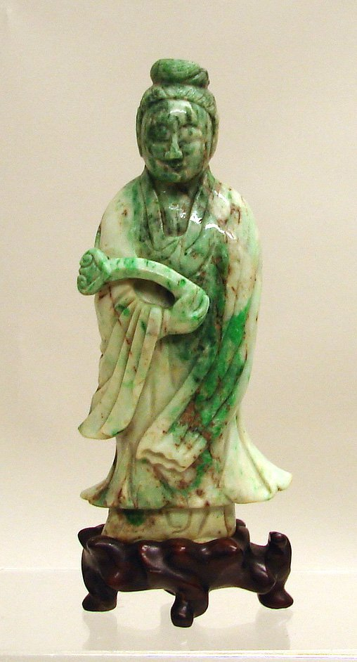 4002: Chinese Carved White and Apple Green Jade/Jadeite