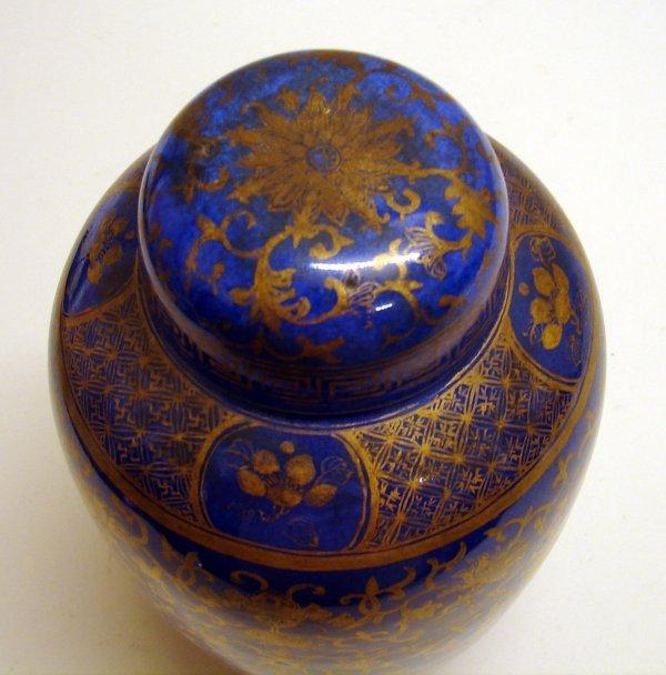 4003: Chinese Porcelain Blue Gilt Covered Urn Vase