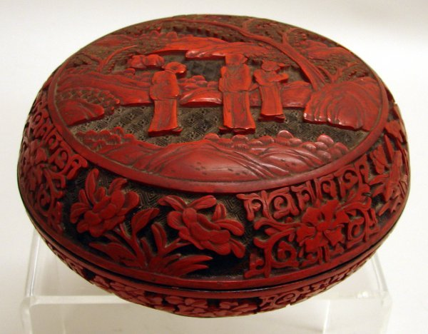 4004: Chinese Carved Two-tone Cinnabar Lacquer Box