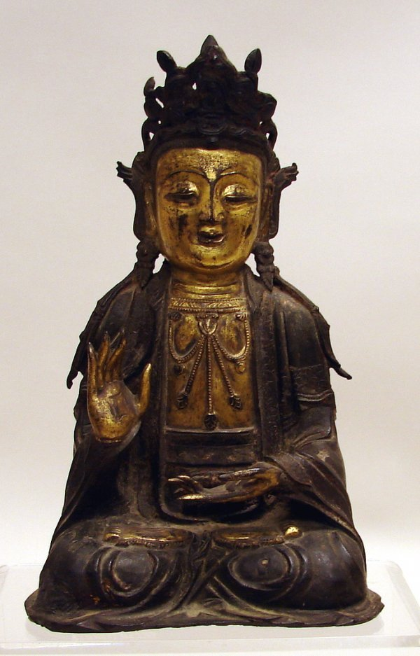 4006: Chinese Gilt Bronze Figure of Quanyin