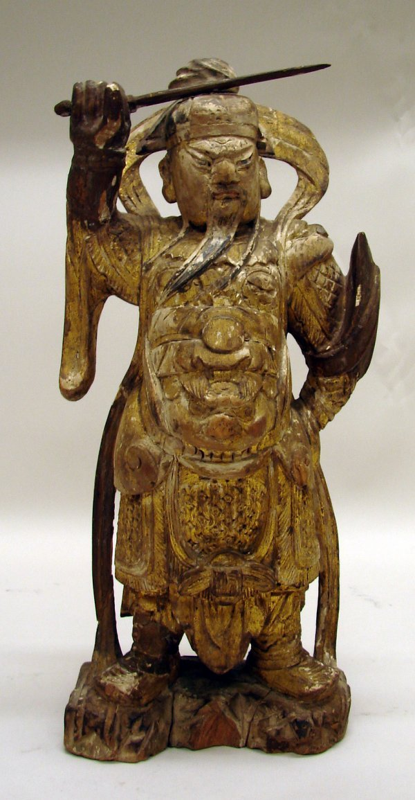 4007: Chinese Carved Wood Guardian of Late Ming Dynasty