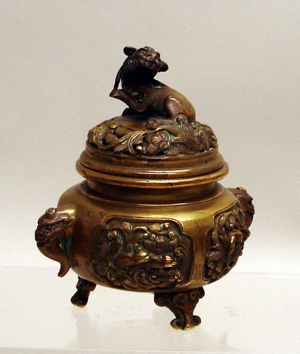 4014: Chinese Gilt Bronze Covered Incense Burner