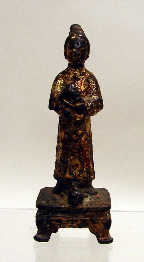 4015: Chinese Gilt Lacquer Bronze Figure of Ming Dynast