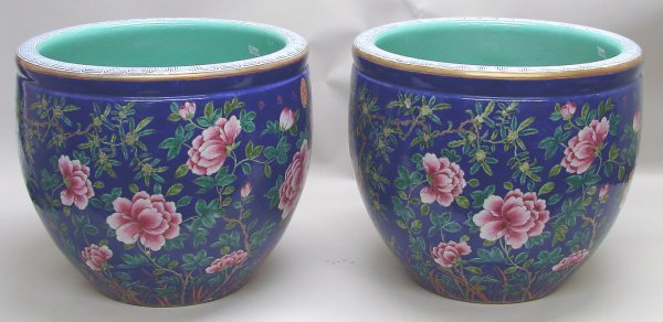 4017: Pair Large Chinese Export Porcelain Famille Rose