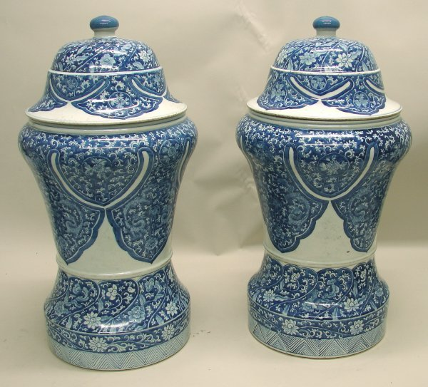 4019: Pair Chinese Porcelain Blue and White Covered Vas