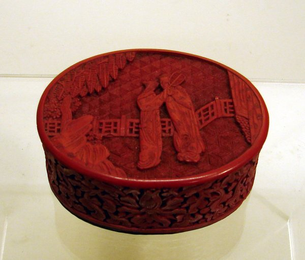 4022: Small Chinese Carved Cinnabar Lacquer Box
