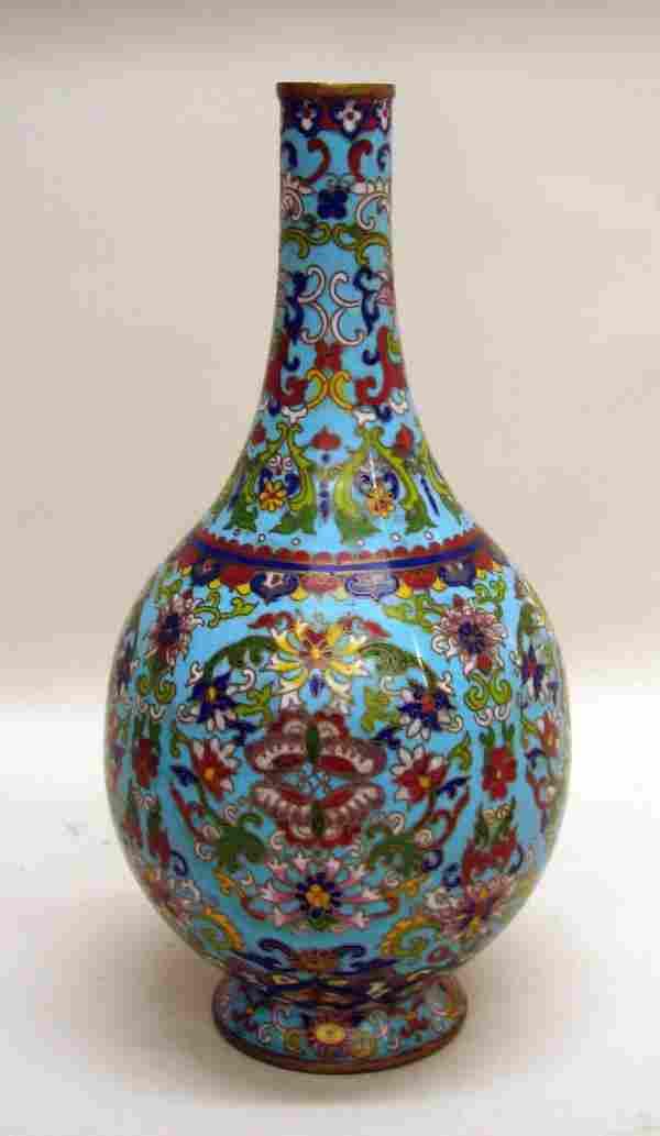 Chinese Cloisonne Bottle Vase of 19th/20th Centur