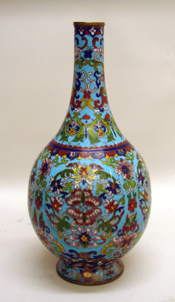 4285: Chinese Cloisonne Bottle Vase of 19th/20th Centur