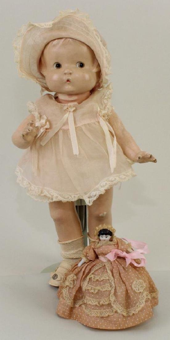 """PAIR OF DOLLS: 13"""" COMPOSITION EFFANBEE PATSY DOLL & 4"""""""