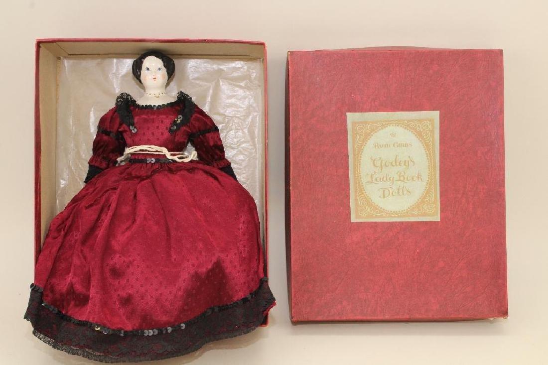 "12"" RUTH GIBBS GODEY LADY DOLL IN ORIGINAL BOX."