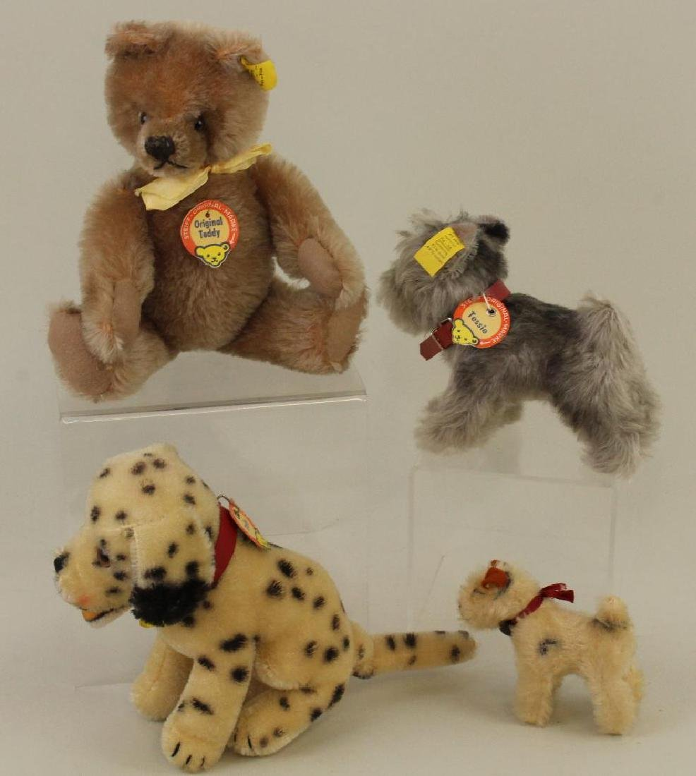 LOT OF (3) STEIFF MOHAIR DOGS AND (1) BEAR.
