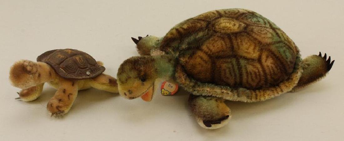 """PAIR OF TAGGED STEIFF MOHAIR """"SLO"""" TURTLES."""