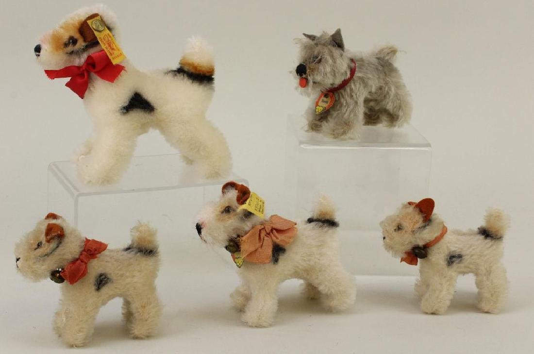 LOT OF (5) STEIFF MOHAIR DOGS: (1) TESSIE, (4) FOXY.