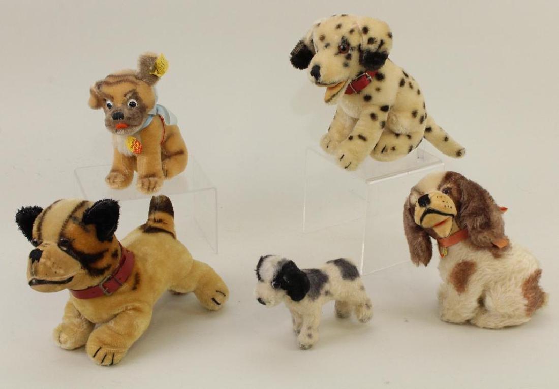 LOT OF (5) STEIFF MOHAIR DOGS.