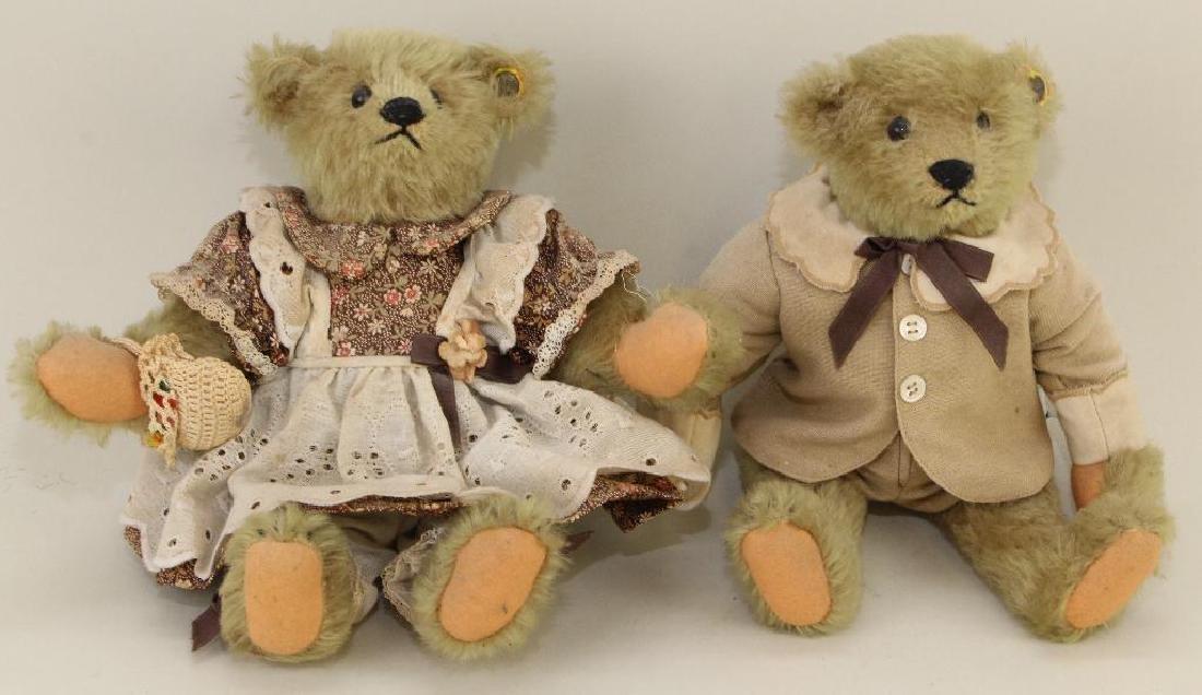 """PAIR OF 9"""" TAGGED STEIFF MOHAIR """"TEDDY"""" BEARS."""