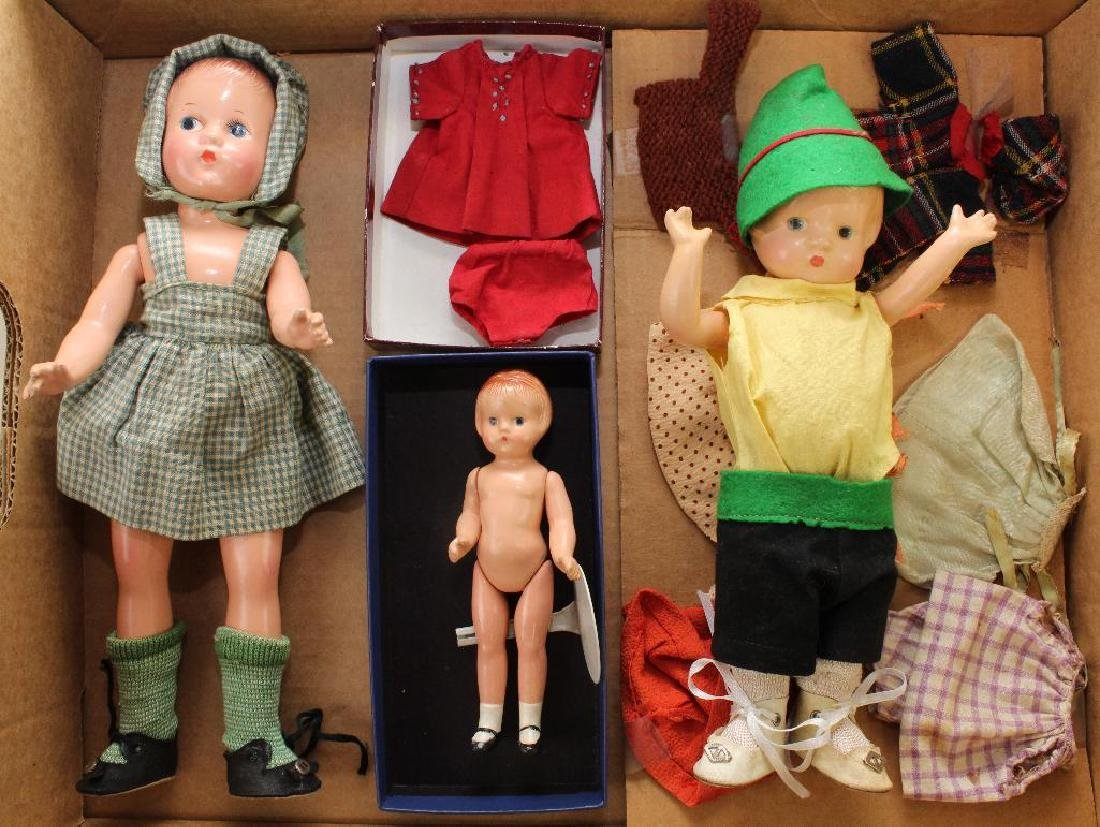LOT OF (3) 1930's EFFANBEE COMPOSITION DOLLS, CLOTHING:
