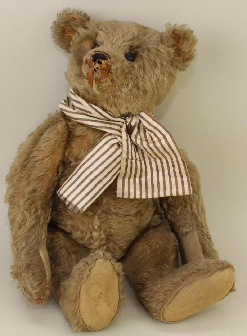 """17"""" UNMARKED ANTIQUE MOHAIR BEAR."""