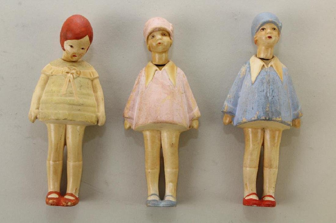 "LOT OF (3) 4 1/4"" 1930's GERMAN PAINTED BISQUE FEMALE"