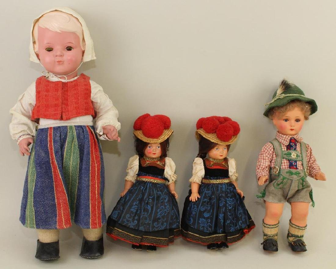 "LOT OF (4) CELLULOID DOLLS: 9 1/2"", 9 1/2"", 13"", 19""."