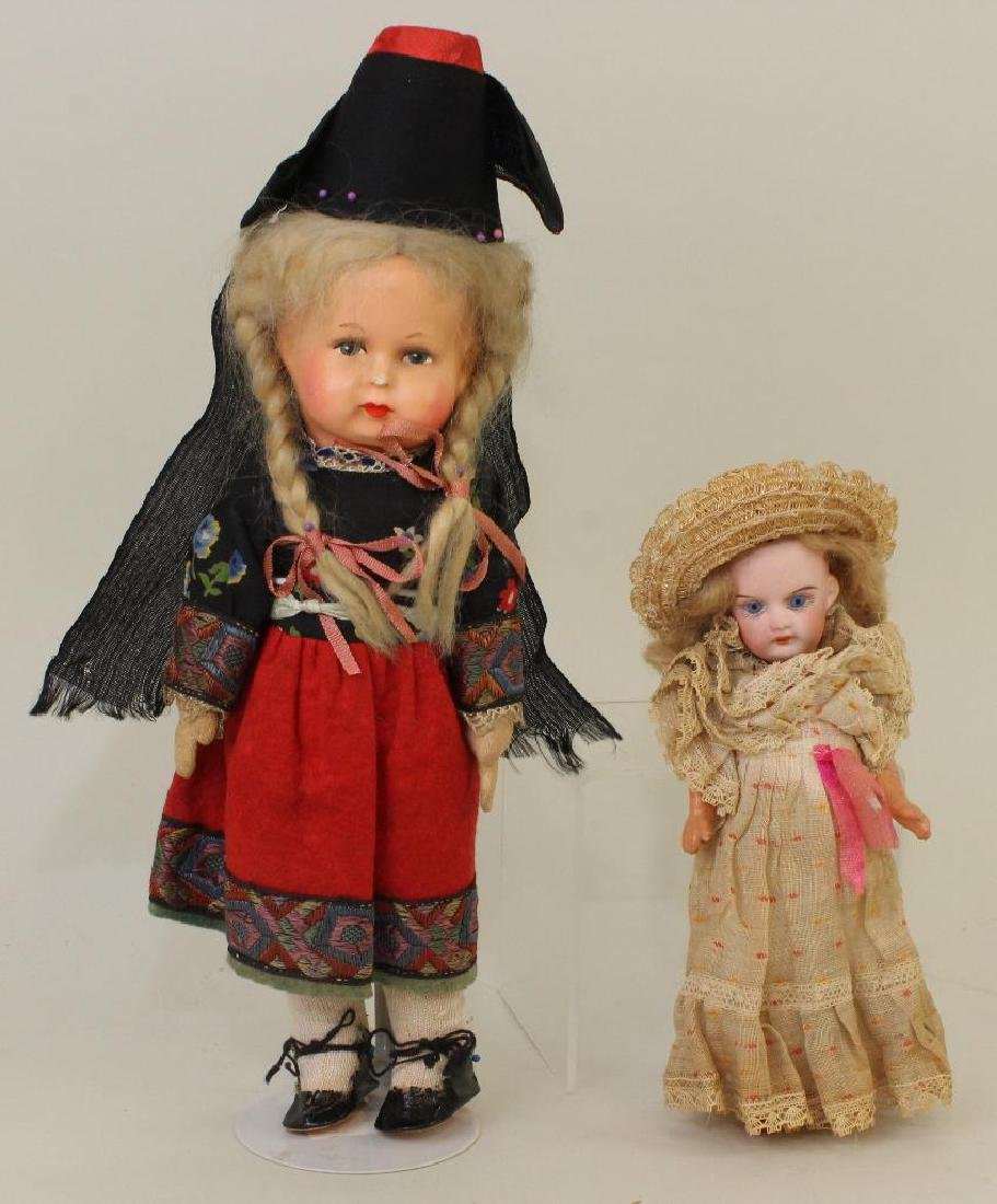PAIR OF ALL ORIGINAL ANTIQUE DOLLS: PAPIER MACHE &