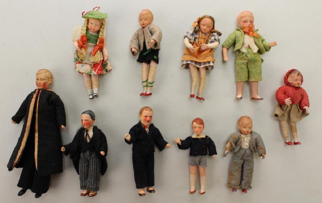 LOT OF (10)  ALL ORIGINAL DOLL HOUSE SIZE DOLLS.