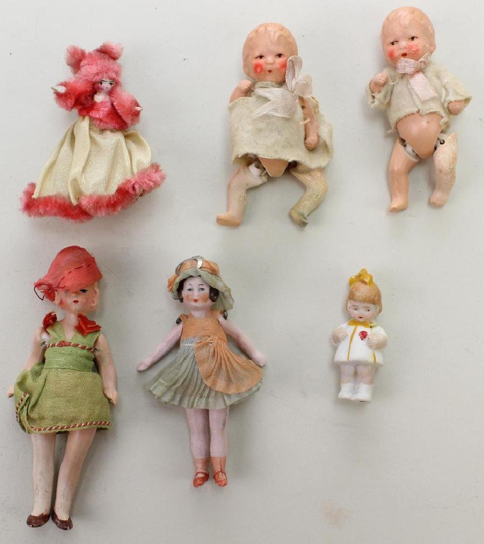 LOT OF (6) ANTIQUE MINI DOLLS: ALL BISQUE, PAINTED