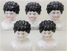 """LOT OF (5) ANTIQUE CHINA """"PET NAME"""" LOWBROW DOLL HEADS."""