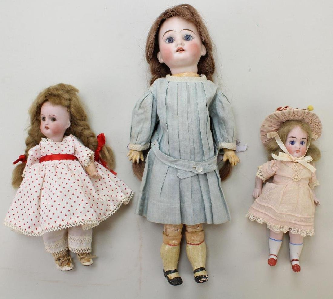 LOT: (2) ANTIQUE BISQUE HEAD DOLLS & AN ALL BISQUE.