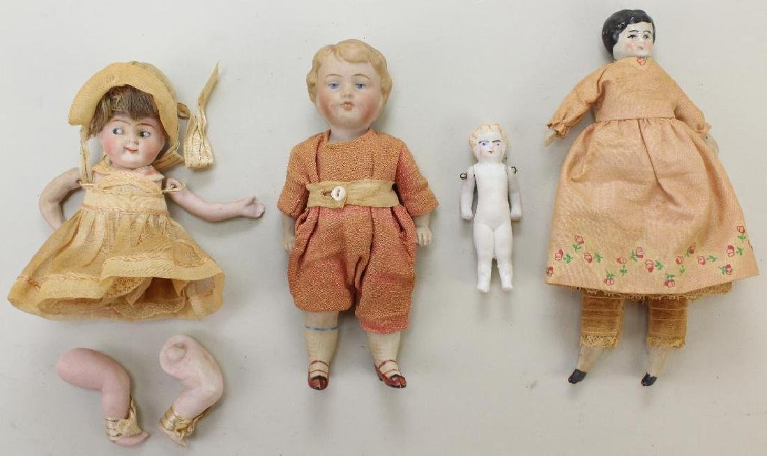 LOT OF (4) ANTIQUE DOLLS: ALL BISQUE, PARIAN, CHINA.