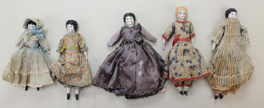"LOT OF (6) ANTIQUE CHINA LOWBROW DOLLS:  6"" - 7 1/2""."