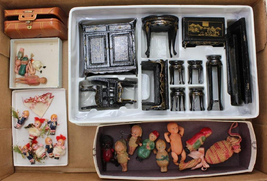 LOT OF MINIATURE FURNITURE & CELLULOID MINIS; OTHER