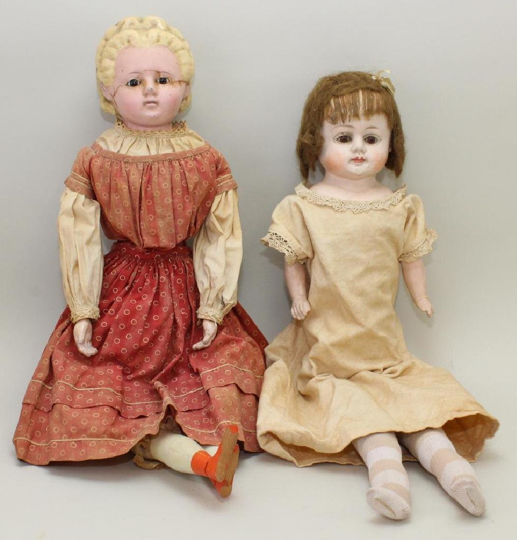 "PAIR OF ANTIQUE DOLLS: 25"" WAX OVER PAPIER MACHE AND"