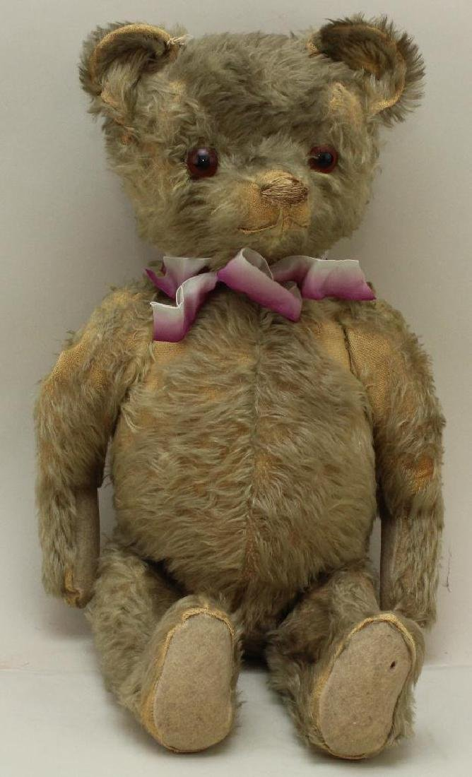 """21"""" UNMARKED ANTIQUE MOHAIR TEDDY BEAR."""