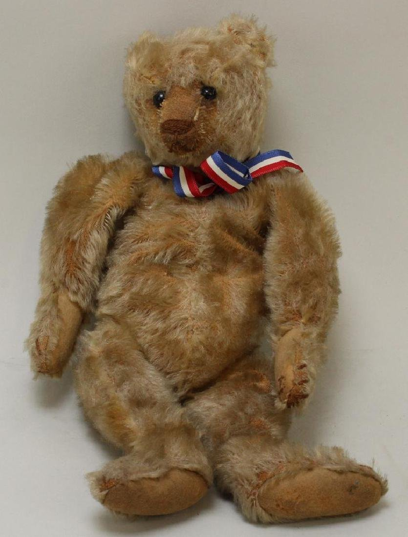 """12 1/2"""" UNMARKED MOHAIR BEAR; 12 1/2"""" DOME."""