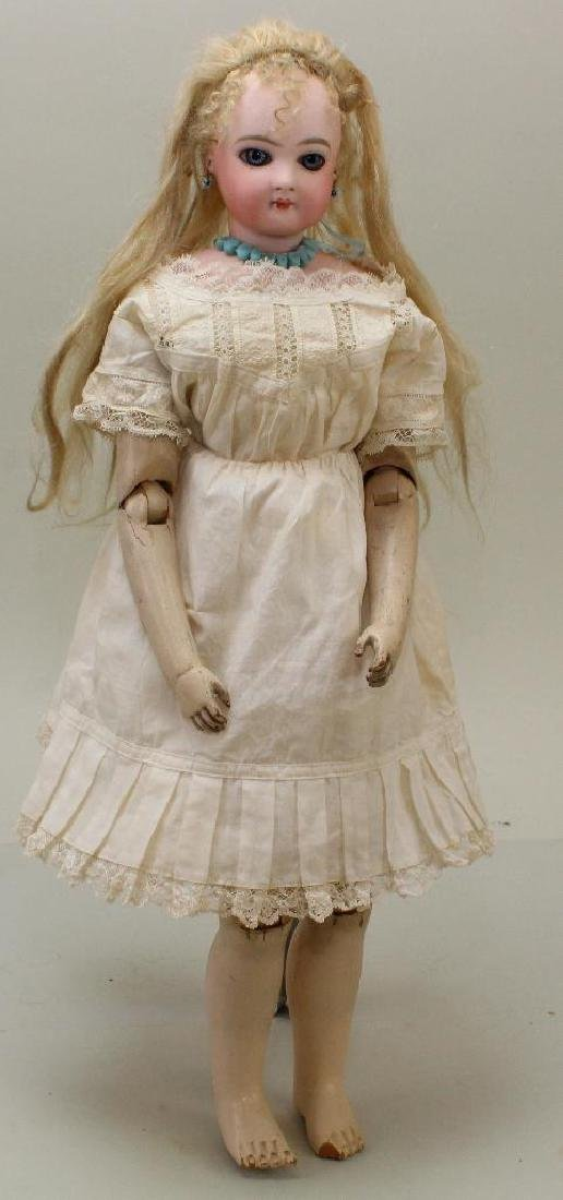 """17 1/2""""  """"7"""" ANTIQUE BISQUE HEAD FRENCH FASHION DOLL."""