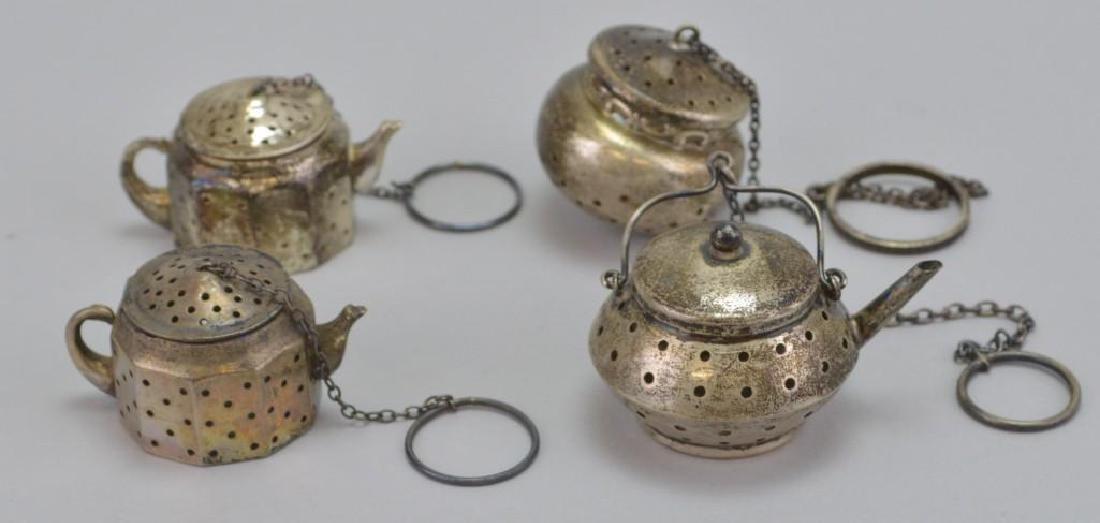 Sterling Silver Tea Kettle Tea Strainer Grouping