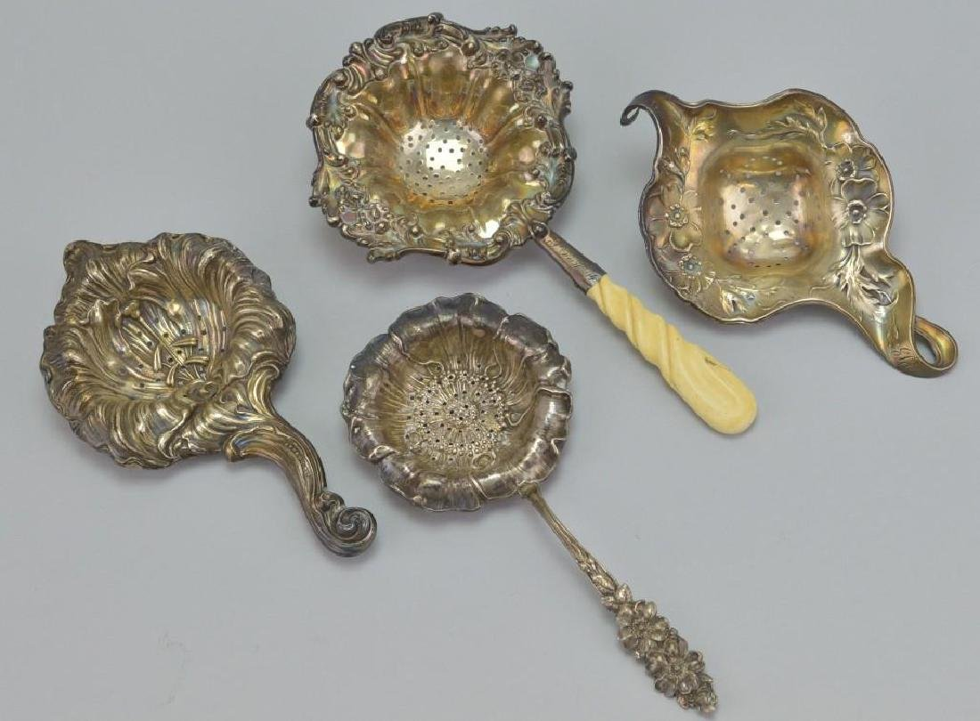 Art Nouveau Sterling Silver Tea Strainer Grouping