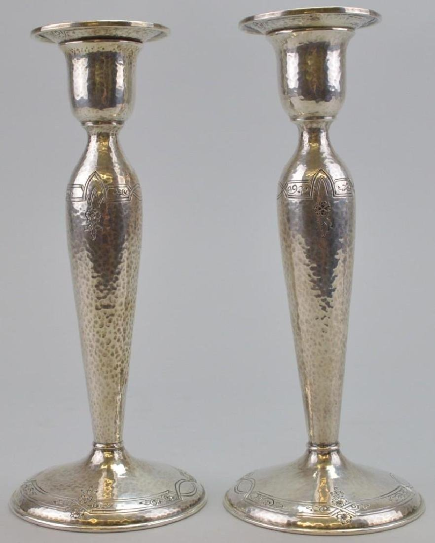 Gorham Sterling Hand Chased and Hammered Candlesticks