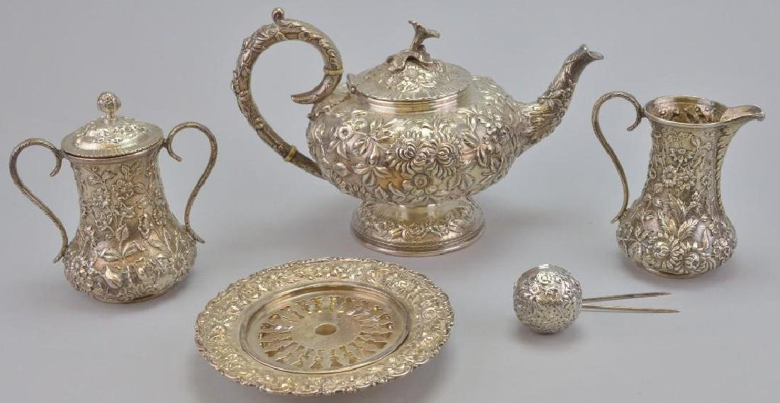S. Kirk and Sons Repousse Sterling Silver Tea Service