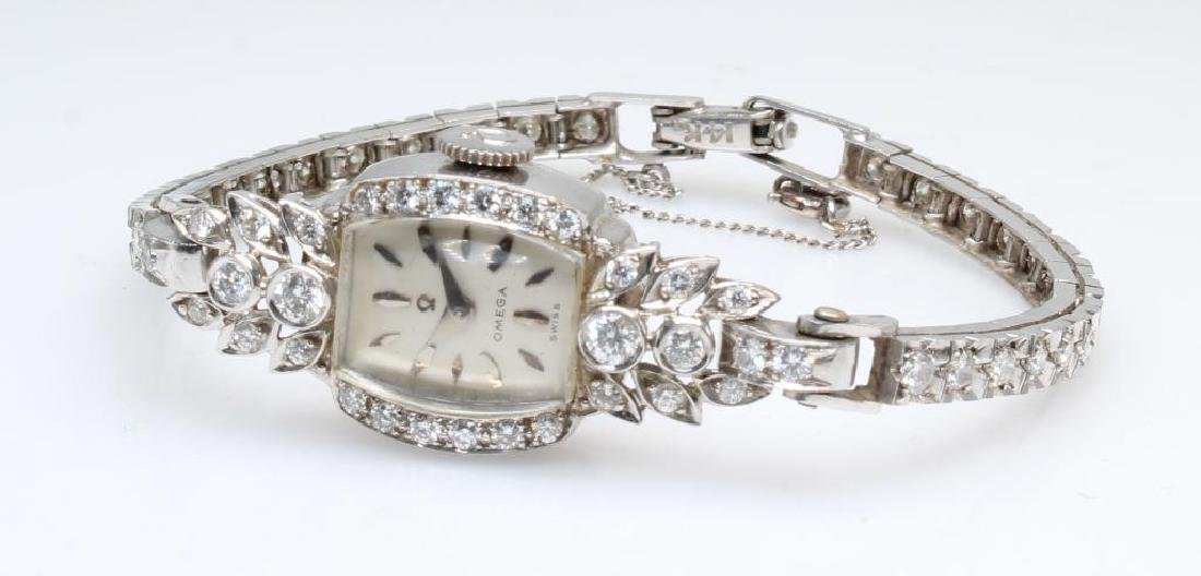 Ladies Omega Wrist Watch. Diamond. Platinum and 14K